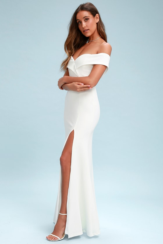 16effed48302 Lovely White Maxi Dress - Off-the-Shoulder Maxi Dress