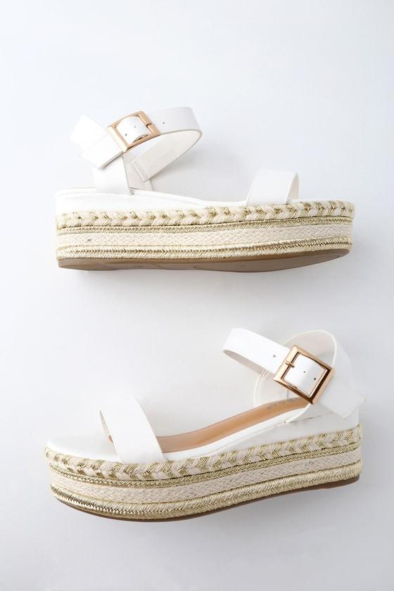7b5dc3f6937 Cute Flatform Sandals - Espadrille Sandals - White Sandals