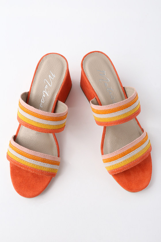 BONITA FIRE ORANGE SUEDE LEATHER MULES MATISSE