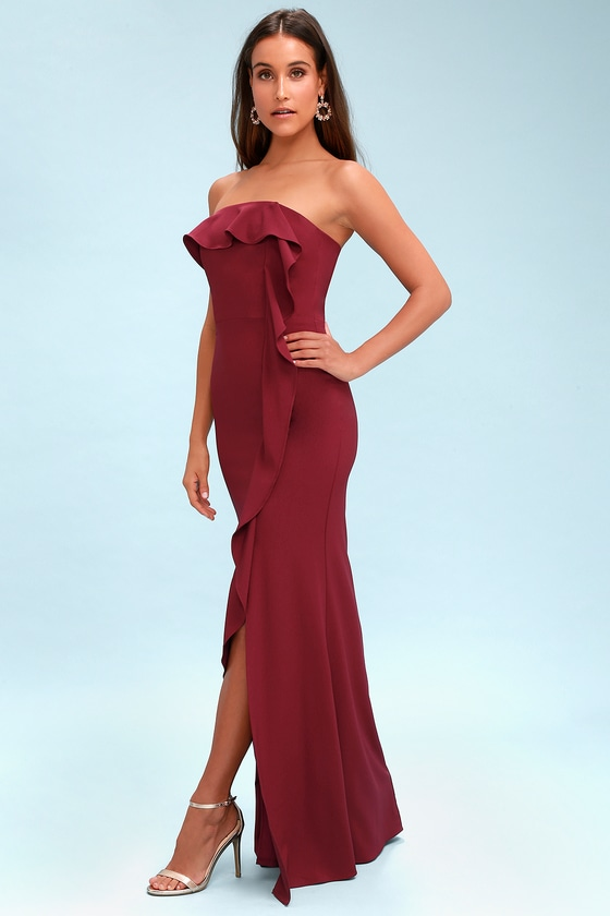 7060e555d7d1 Chic Burgundy Maxi Dress - Strapless Dress - Ruffled Dress