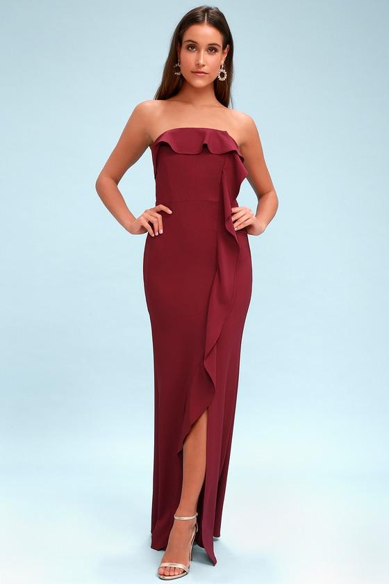 7060e555d7d1 Chic Burgundy Maxi Dress - Strapless Dress - Ruffled Dress