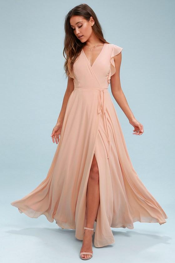 8e5063032d Stunning Maxi Dress - Wrap Maxi Dress - Blush Maxi Dress