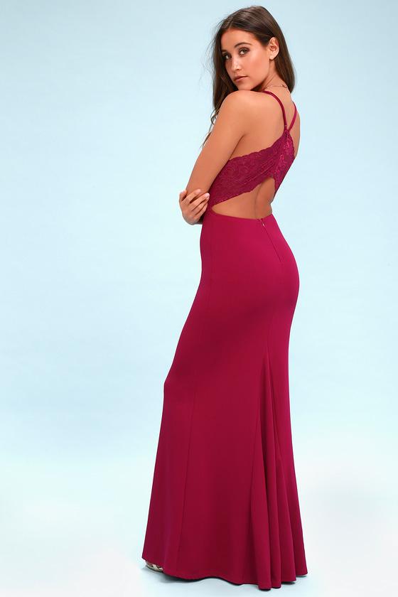 0b8be44f803 Chic Magenta Maxi Dress - Lace Dress - Backless Dress