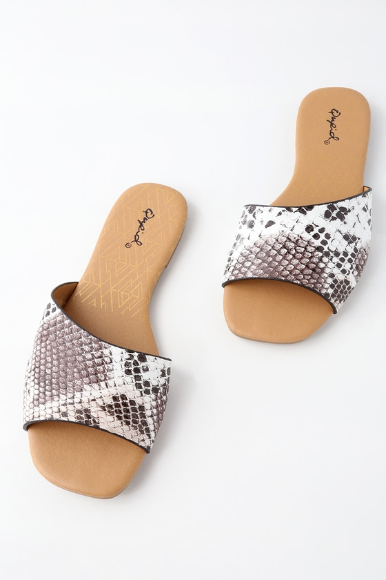 a75bc68de1d5 Cute Snake Print Sandals - Slide Sandals - Vegan Sandals