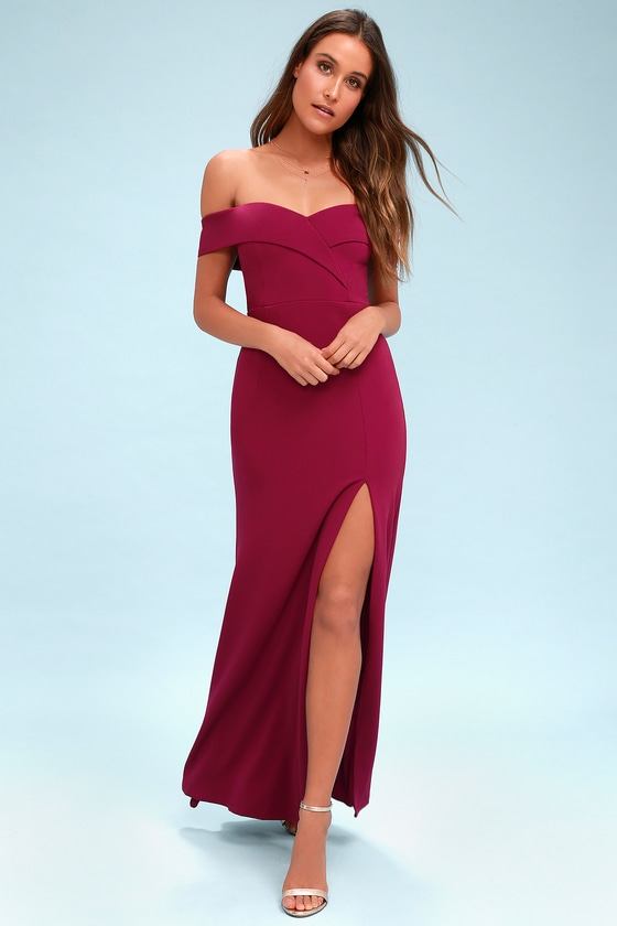 70f7f046ae85 Lovely Magenta Maxi Dress - Off-the-Shoulder Maxi Dress