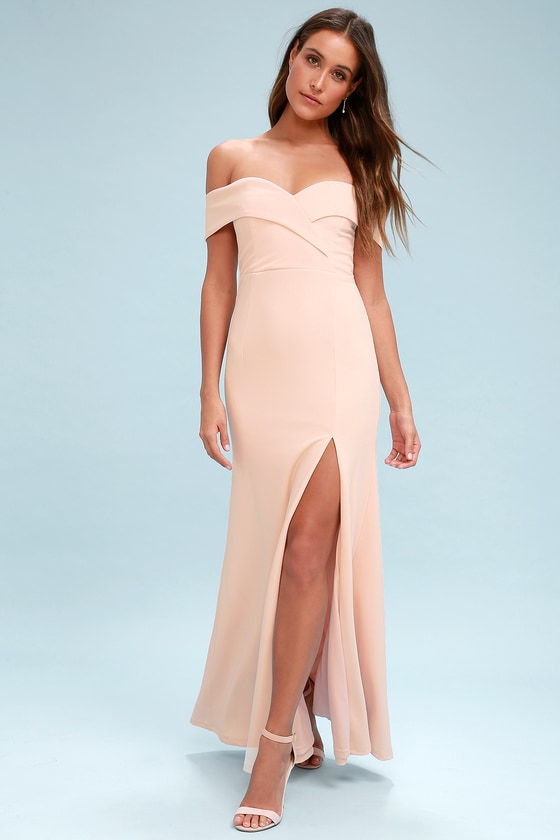 Lovely Blush Pink Maxi Dress Off The Shoulder Maxi Dress