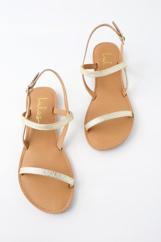 082e5a3ce7 Cute Flat Sandals - Gold Sandals - Vegan Sandals