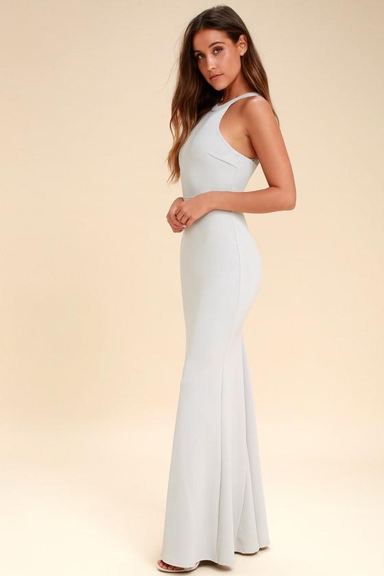 Lovely Light Grey Dress - Lace Maxi Dress - Halter Dress