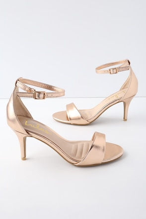 65881e9d1cdd Classic Metallic Heels - Rose Gold Single Sole Heels