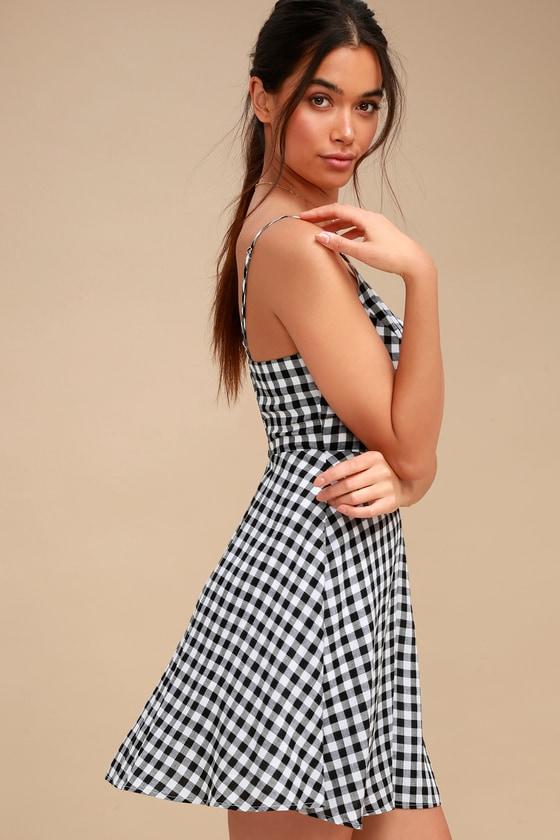 Cute Black and White Dress - Gingham Dress - Skater Dress c0e4c25e2