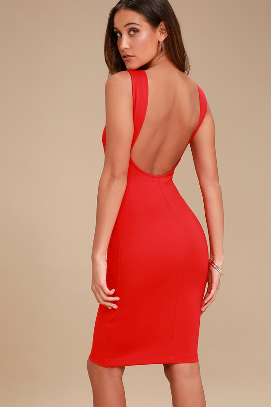9441c169af30 Chic Red Dress - Red Midi Dress - Red Backless Dress