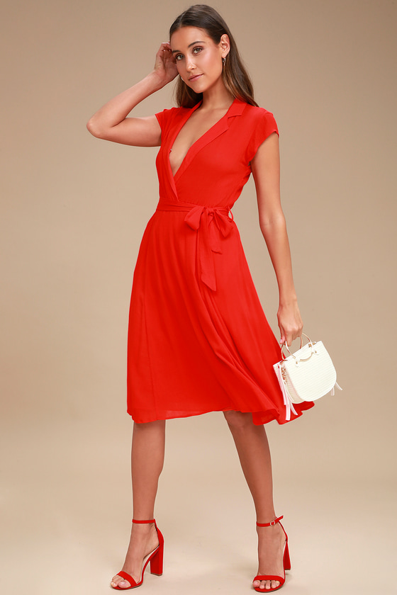 Always Adored Red Surplice Midi Dress