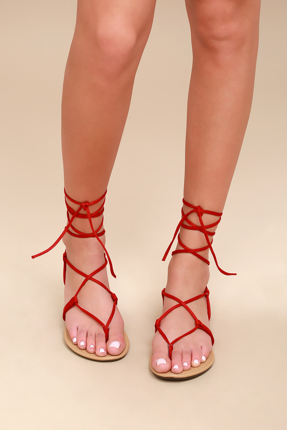 00953bdbe173 Cute Red Sandals - Lace-Up Sandals - Flat Sandals