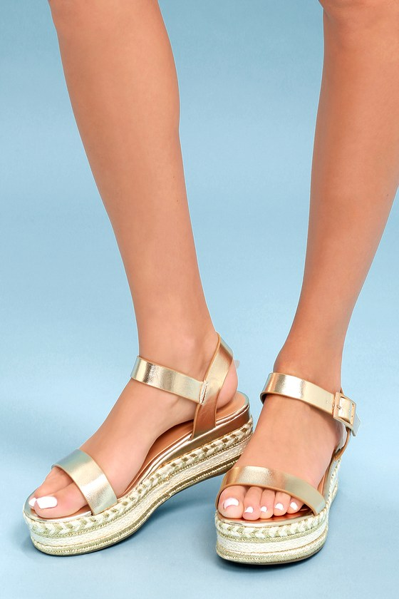 7f596893e04 Cute Flatform Sandals - Espadrille Sandals - Gold Sandals