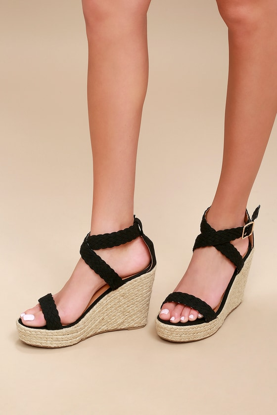 009be538c59 Cute Espadrille Wedges - Black Wedges - Wedge Sandals