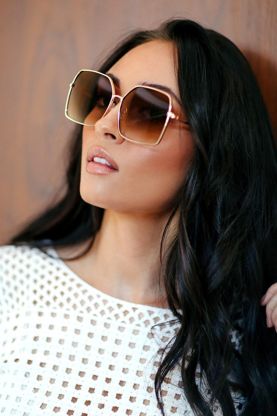 323638adb09 Retro Sunglasses - Square Sunglasses - Gold Sunglasses