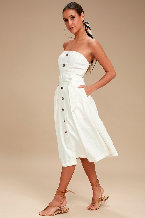 259cb52802f8 Moon River Zoie - White Strapless Dress - White Midi Dress