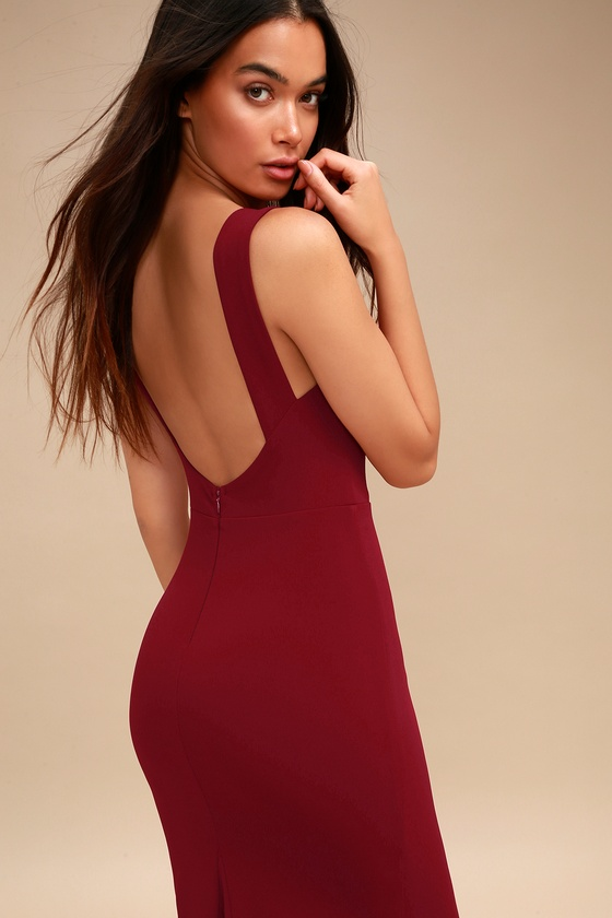 Hollywood Boulevard Wine Red Backless Maxi Dress