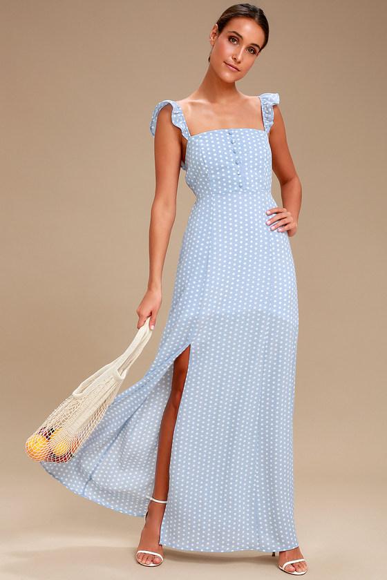 c23de9ed8 Sage the Label Baby Blues - Light Blue Polka Dot Maxi Dress