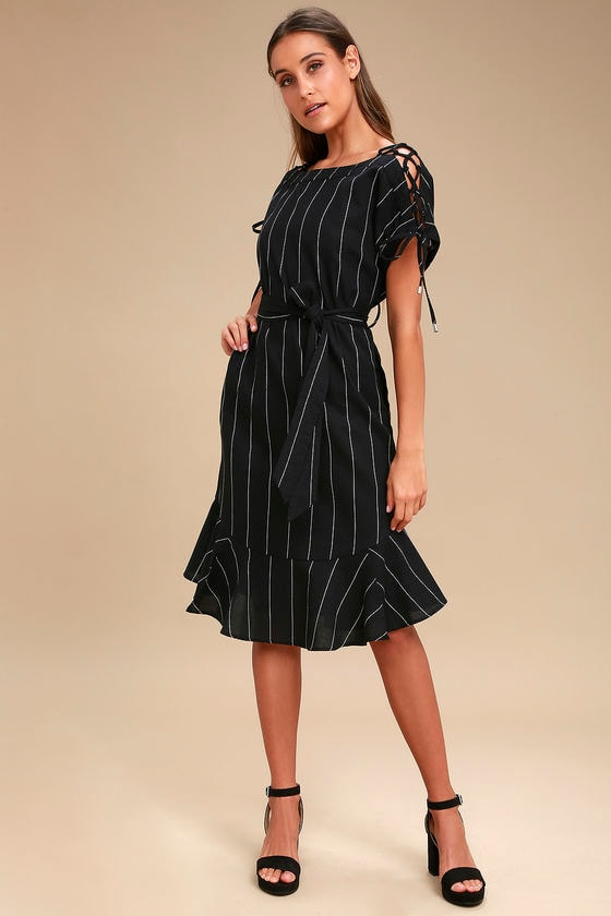 Alameda Black Striped Lace Up Midi Dress by Moon River