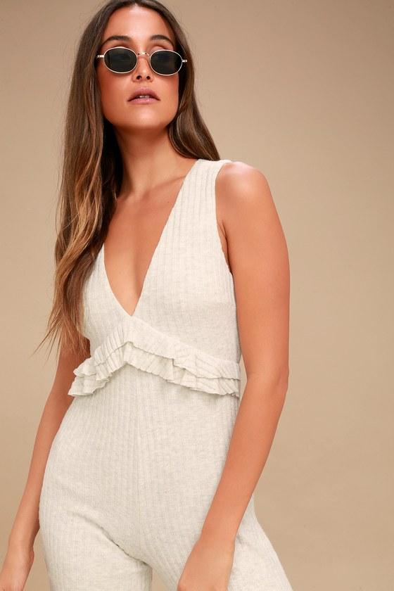 a7021ea106c5 Cozy Heather Grey Jumpsuit - Ribbed Knit Culotte Jumpsuit