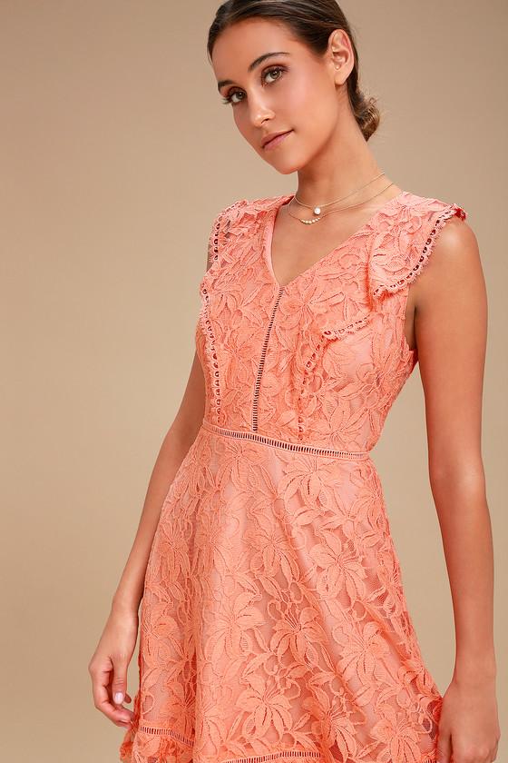 BB Dakota Rease - Coral Orange Lace Dress - Ruffled Dress