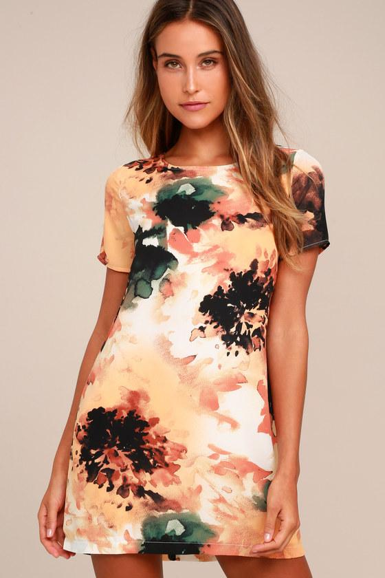 Cute Orange Print Dress - Shift Dress - Short Sleeve Dress 5848a617c