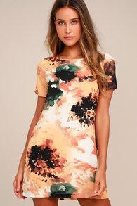 06b775d69a716 Cute Rust Orange Shift Dress - Short Sleeve Dress - Shift Dress