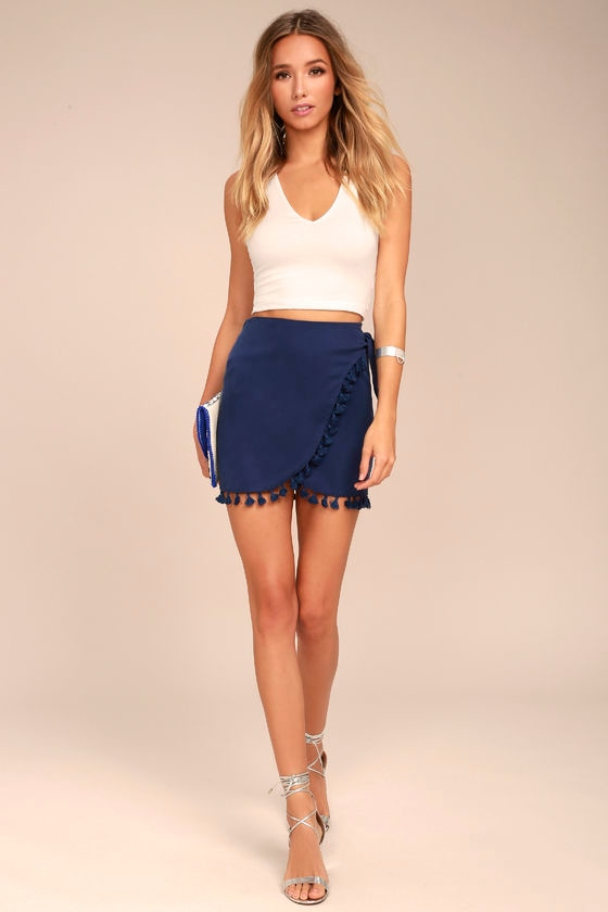 80ddbeb9ff49 Cute Navy Blue Skirt - Wrap Skirt - Mini Skirt