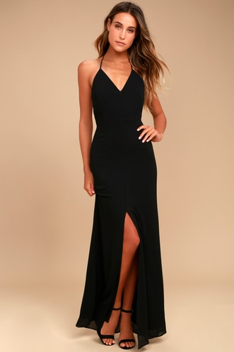 0c62d01111f Story of a Starry Night Black Backless Lace Maxi Dress