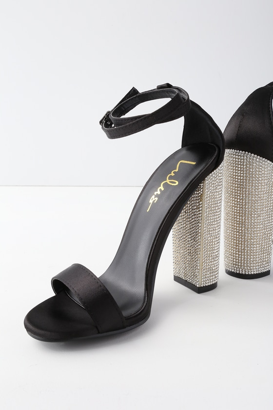 5704542a1dbc Sexy Black Heels - Satin Heels - Rhinestone Heels