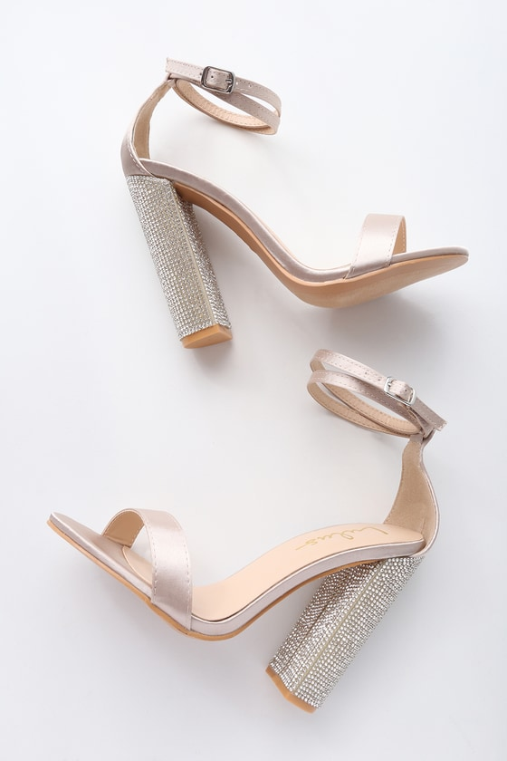57161342c82 Sexy Champagne Heels - Satin Heels - Rhinestone Heels