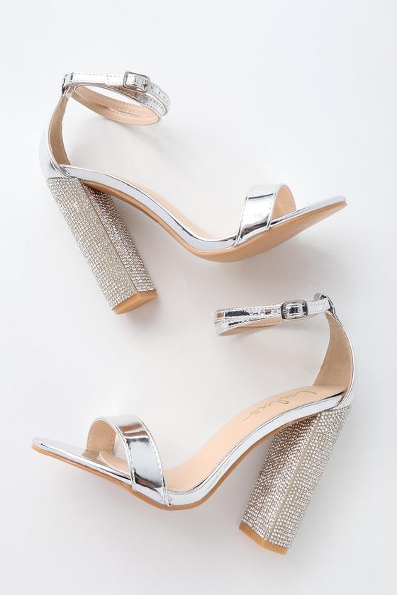 shop details for fashion Sexy Silver Heels - Vegan Leather Heels - Rhinestone Heels