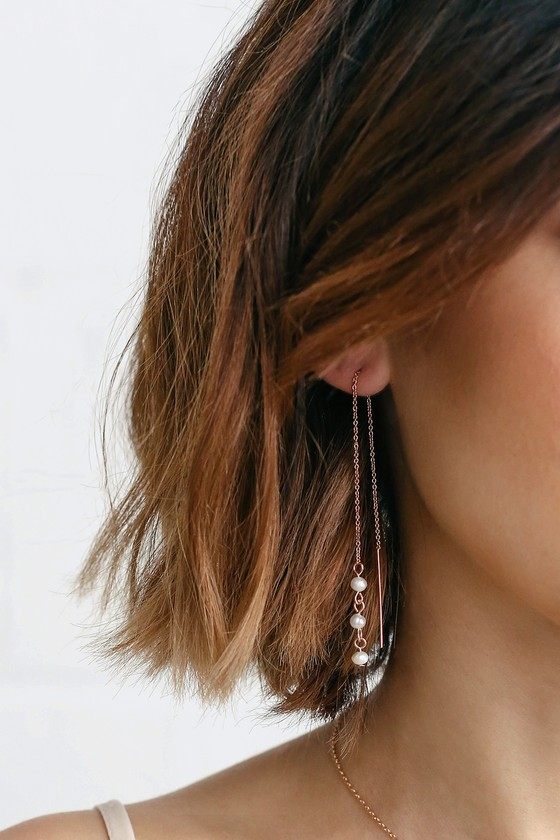 5e306a684 Chic Threader Earrings - Rose Gold and Pearl Earrings