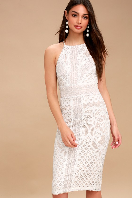 7d0861ef9966 Cute White Dress - Lace Bodycon Dress - Midi Dress
