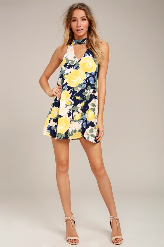 1677a122cf Cute Navy Blue Dress - Floral Print Dress - Swing Dress