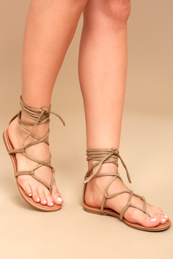Relatively Beige Lace-Up Sandals - Flat Sandals - Vegan Leather Sandals YR05