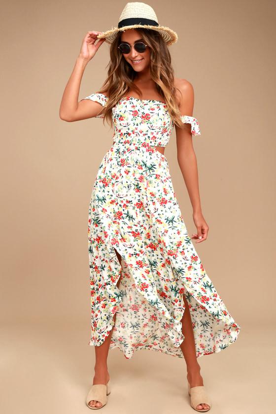 91f3ac6a2d69 Cute Floral Print Dress - Midi Dress - Off-the-Shoulder Dress -  59.00