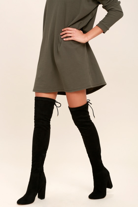 e6ab0a1421e9 Nightwalker Love Child Boots - Black Suede Boots - Black Over the Knee Boots  - OTK Boots