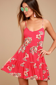 178285d7cead Flirty Red Floral Print Dress - Floral Mini Dress - Sundress