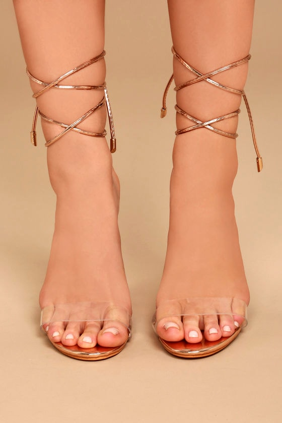 1e193152d597 Chic Rose Gold Lace-Up Heels - Rose Gold and Lucite Heels