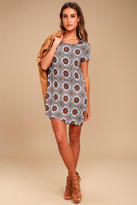 Fun Printed Dress Shift Dress Blue And Orange Dress