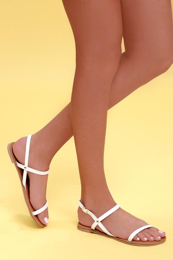 Rika White Flat Sandals