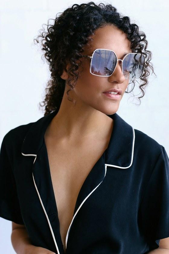 4ff82fd8d22 Retro Sunglasses - Square Sunglasses - Silver Sunglasses