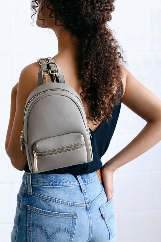 Cute Grey Mini Backpack Vegan Leather Mini Backpack