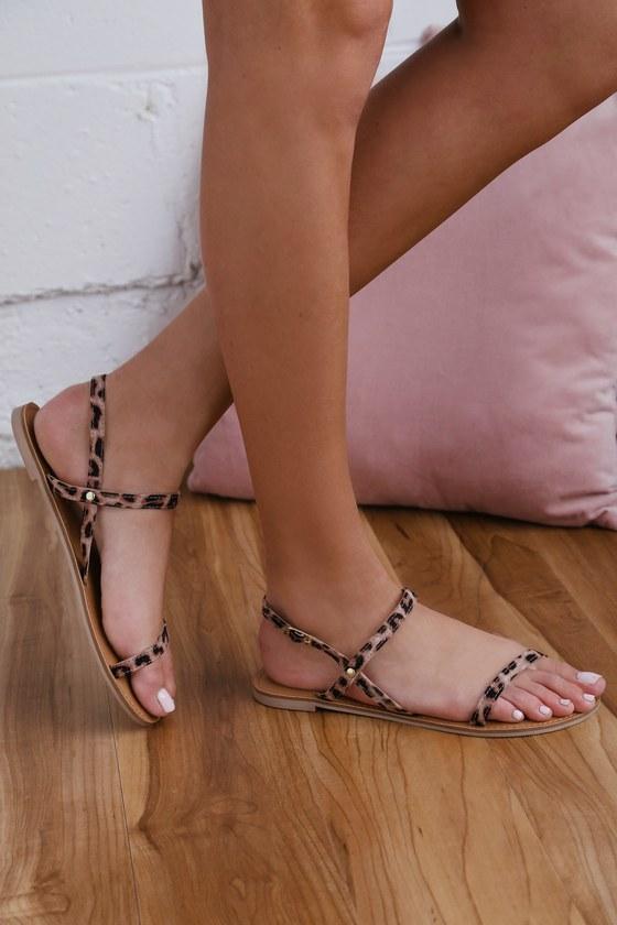 2aaea4d587 Cute Flat Sandals - Leopard Print Sandals - Vegan Sandals