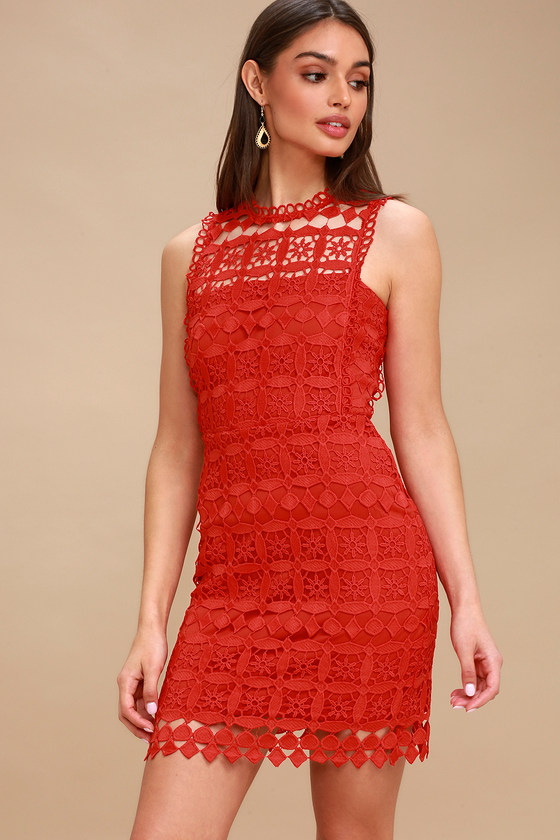 Pay Tribute Red Crochet Lace Dress