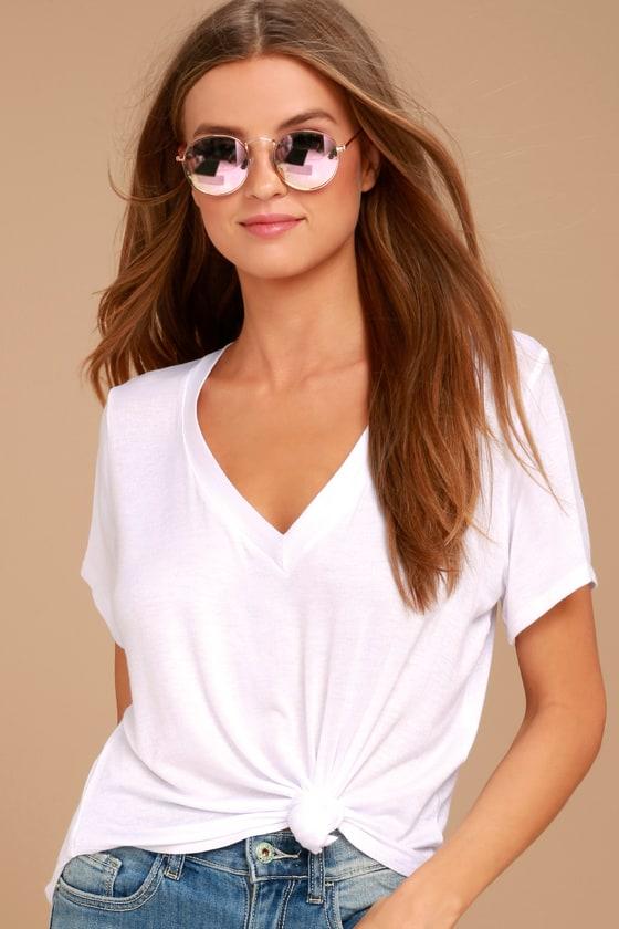 1016bfff Basic White Tee - V-Neck Tee - Basic Tee - V-Neck T-Shirt
