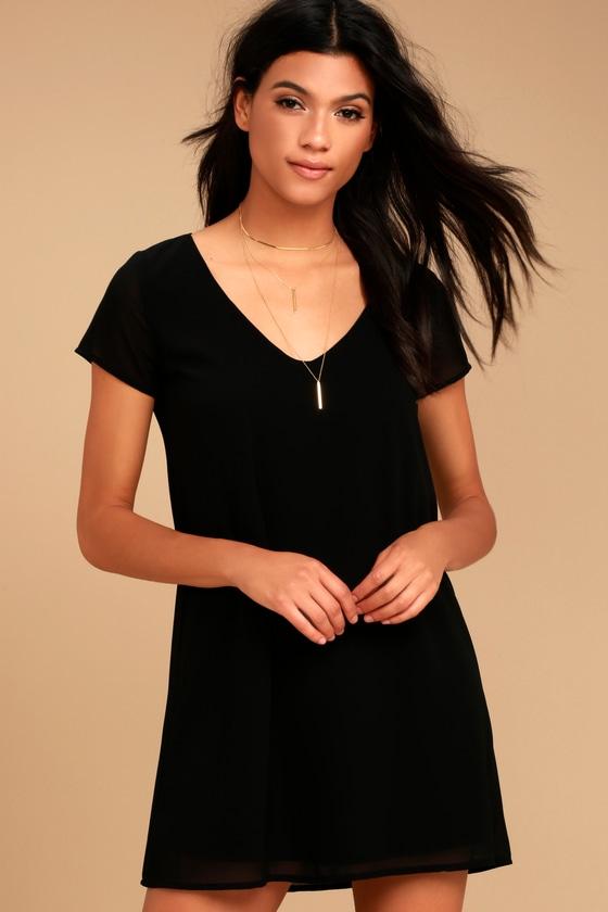 064988f1eb2f Chic Short Sleeve Black Dress - V-Neck Dress - T-Shirt Dress