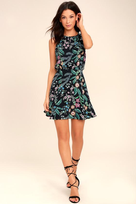 c9cd0e3f7e5 Lovely Black Floral Print Dress - Tropical Print Dress - Black ...